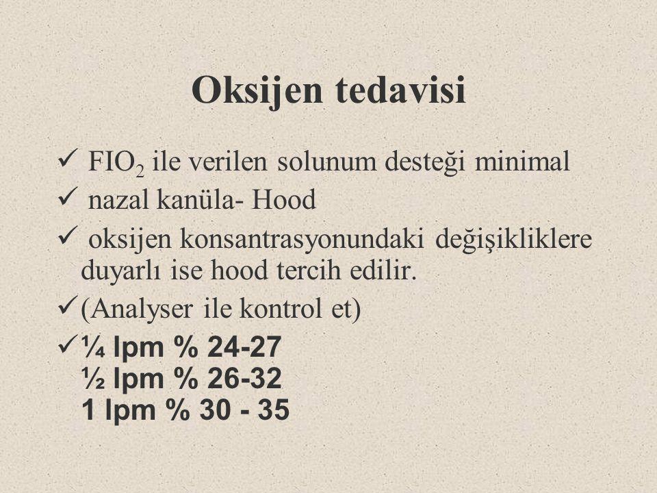 Oksijen tedavisi FIO 2 ile verilen solunum desteği minimal nazal kanüla- Hood oksijen konsantrasyonundaki değişikliklere duyarlı ise hood tercih edili