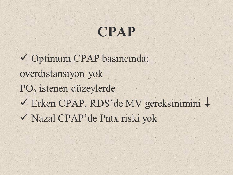 CPAP Optimum CPAP basıncında; overdistansiyon yok PO 2 istenen düzeylerde Erken CPAP, RDS'de MV gereksinimini  Nazal CPAP'de Pntx riski yok