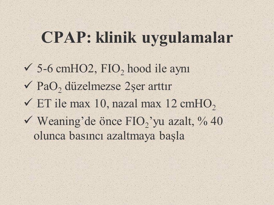 CPAP: klinik uygulamalar 5-6 cmHO2, FIO 2 hood ile aynı PaO 2 düzelmezse 2şer arttır ET ile max 10, nazal max 12 cmHO 2 Weaning'de önce FIO 2 'yu azal