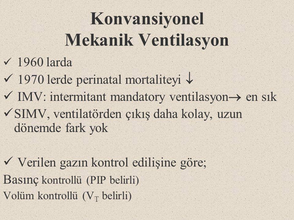 Konvansiyonel Mekanik Ventilasyon 1960 larda 1970 lerde perinatal mortaliteyi  IMV: intermitant mandatory ventilasyon  en sık SIMV, ventilatörden çı