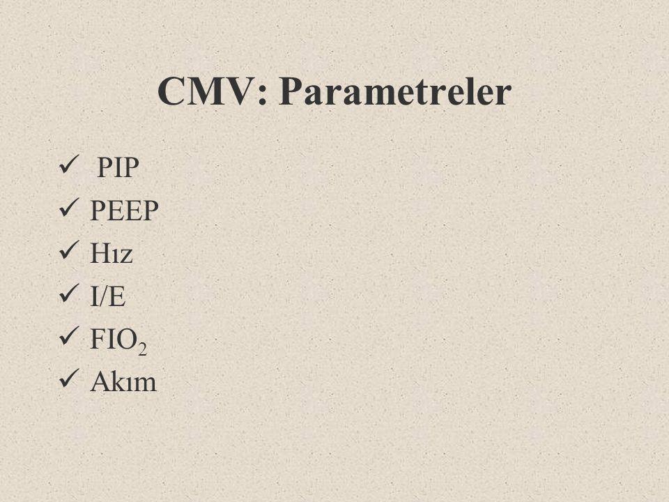 CMV: Parametreler PIP PEEP Hız I/E FIO 2 Akım
