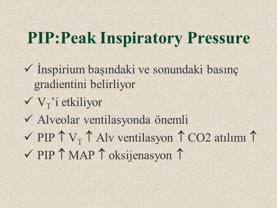 PIP:Peak Inspiratory Pressure İnspirium başındaki ve sonundaki basınç gradientini belirliyor V T 'i etkiliyor Alveolar ventilasyonda önemli PIP  V T