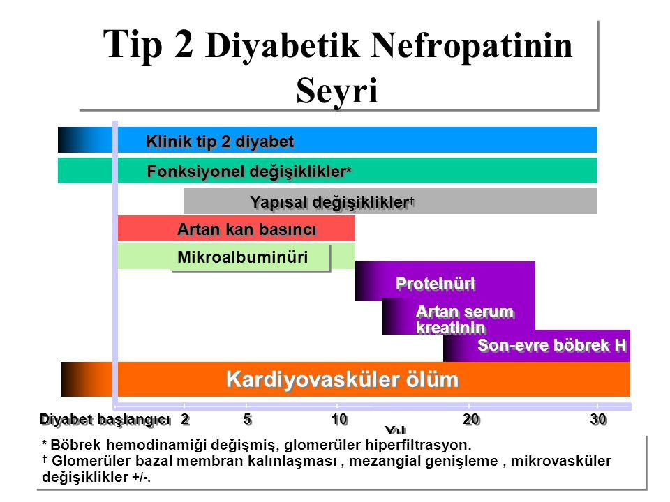 Fonksiyonel değişiklikler * Tip 2 Diyabetik Nefropatinin Seyri Proteinüri Son-evre böbrek H Klinik tip 2 diyabet Yapısal değişiklikler † Artan kan bas