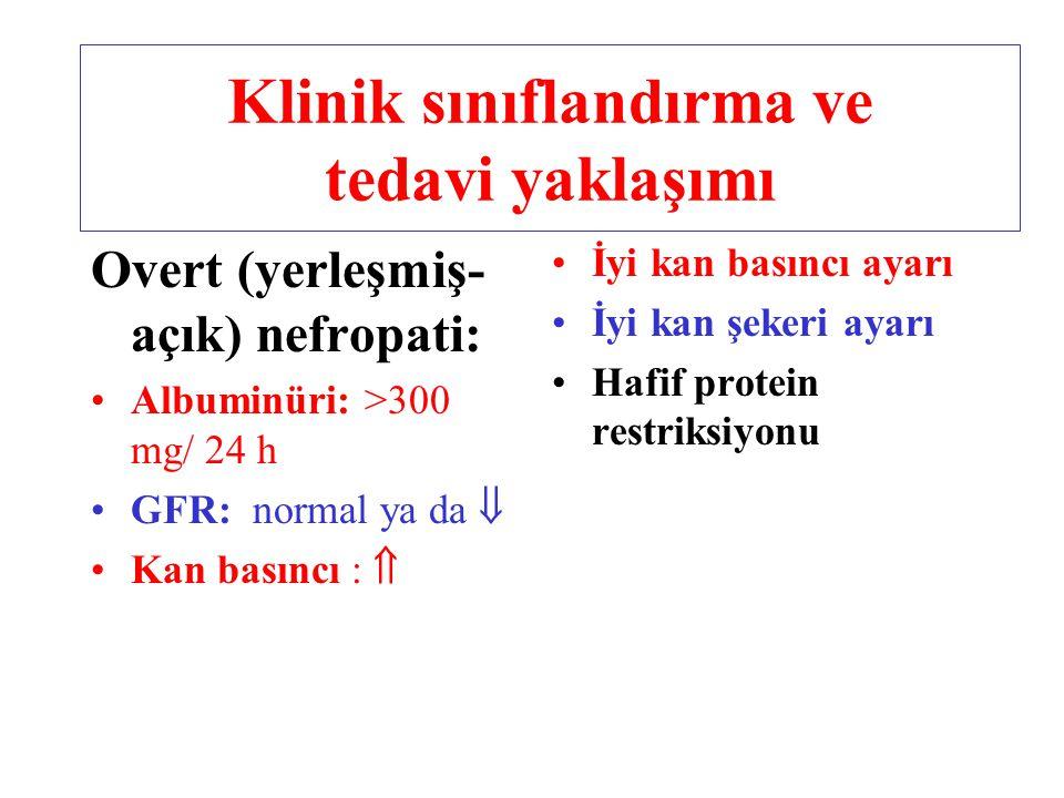 Overt (yerleşmiş- açık) nefropati: Albuminüri: >300 mg/ 24 h GFR: normal ya da  Kan basıncı :  İyi kan basıncı ayarı İyi kan şekeri ayarı Hafif prot