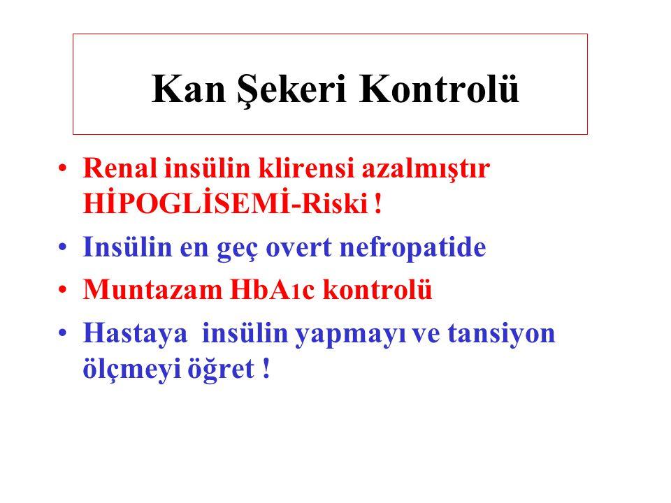 Kan Şekeri Kontrolü Renal insülin klirensi azalmıştır HİPOGLİSEMİ-Riski ! Insülin en geç overt nefropatide Muntazam HbA 1 c kontrolü Hastaya insülin y