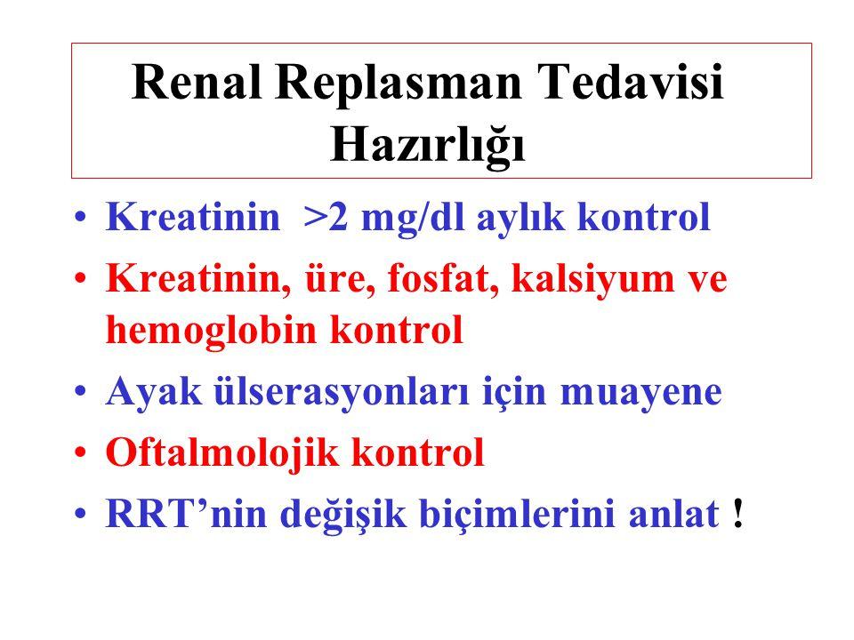Renal Replasman Tedavisi Hazırlığı Kreatinin >2 mg/dl aylık kontrol Kreatinin, üre, fosfat, kalsiyum ve hemoglobin kontrol Ayak ülserasyonları için mu