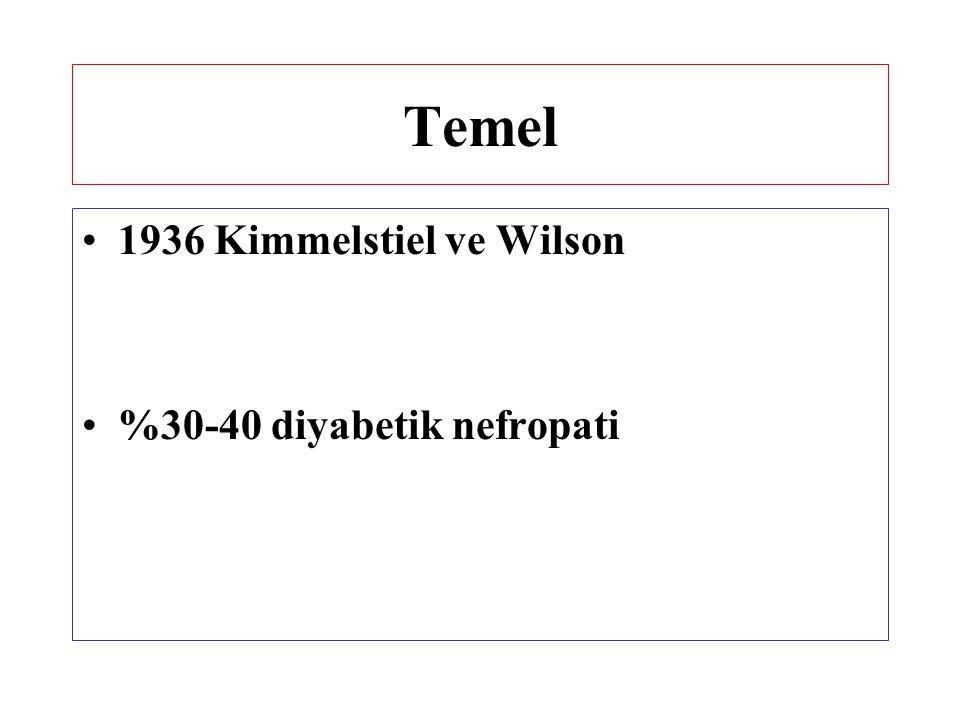 Temel 1936 Kimmelstiel ve Wilson %30-40 diyabetik nefropati