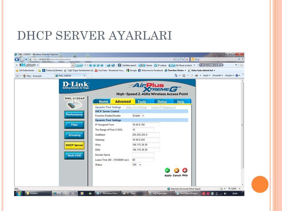 DHCP SERVER AYARLARI