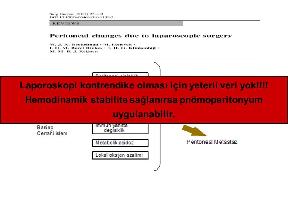 Laporoskopi kontrendike olması için yeterli veri yok!!!! Hemodinamik stabilite sağlanırsa pnömoperitonyum uygulanabilir.