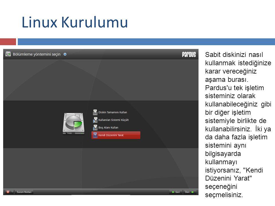 Linux Kurulumu Sabit diskinizi nasıl kullanmak istediğinize karar vereceğiniz aşama burası.