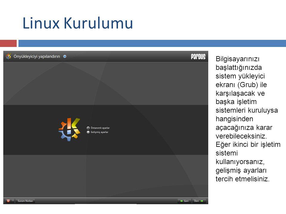 Linux Kurulumu Bilgisayarınızı başlattığınızda sistem yükleyici ekranı (Grub) ile karşılaşacak ve başka işletim sistemleri kuruluysa hangisinden açacağınıza karar verebileceksiniz.