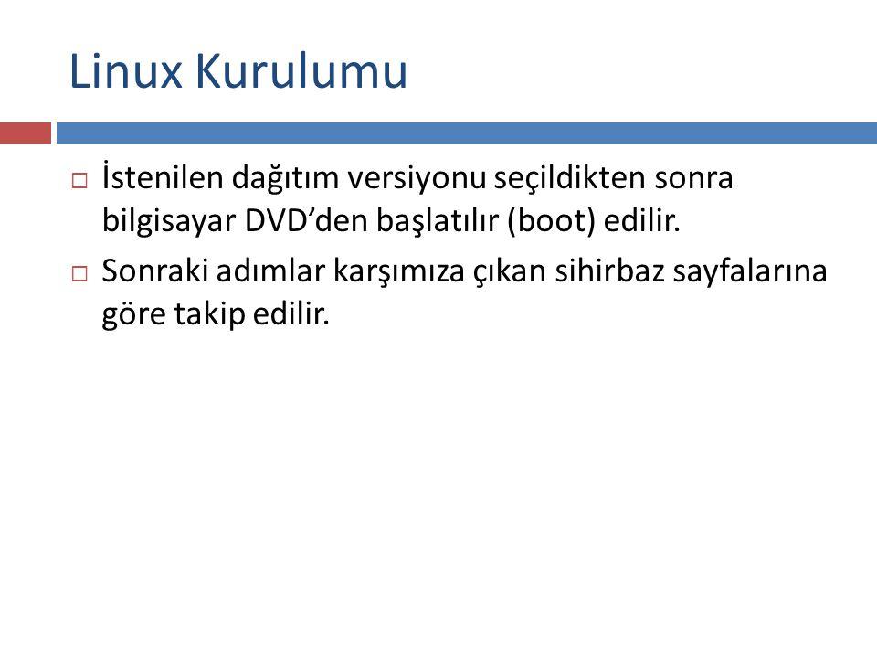 Linux Kurulumu  İstenilen dağıtım versiyonu seçildikten sonra bilgisayar DVD'den başlatılır (boot) edilir.