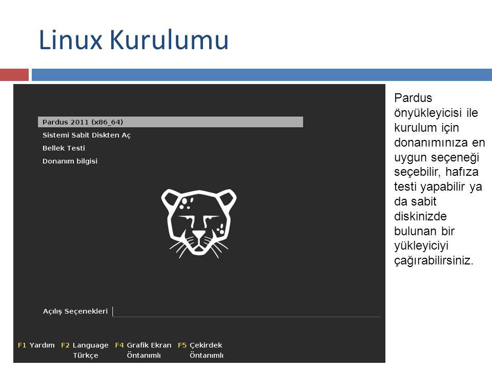 Linux Kurulumu Pardus önyükleyicisi ile kurulum için donanımınıza en uygun seçeneği seçebilir, hafıza testi yapabilir ya da sabit diskinizde bulunan bir yükleyiciyi çağırabilirsiniz.