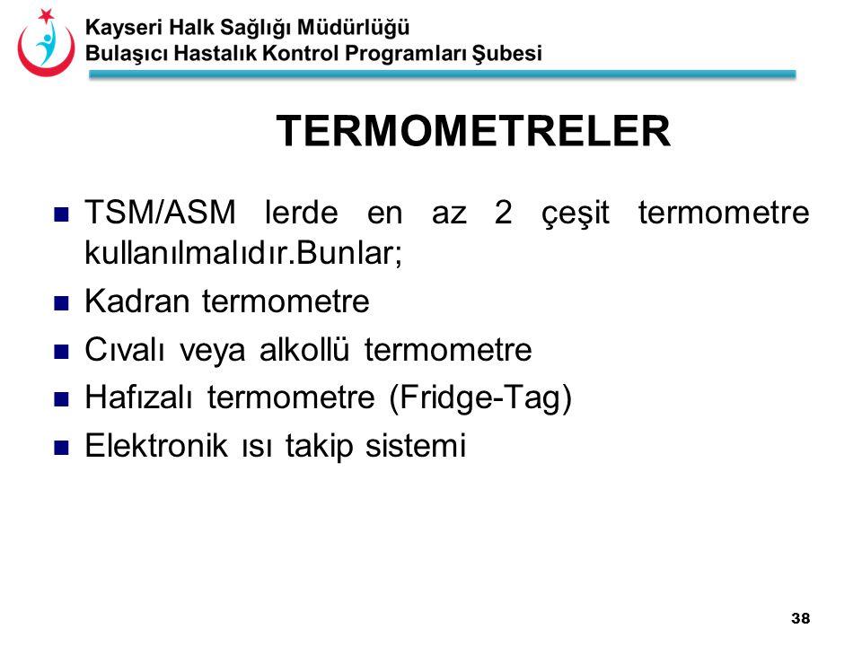 38 TERMOMETRELER TSM/ASM lerde en az 2 çeşit termometre kullanılmalıdır.Bunlar; Kadran termometre Cıvalı veya alkollü termometre Hafızalı termometre (Fridge-Tag) Elektronik ısı takip sistemi