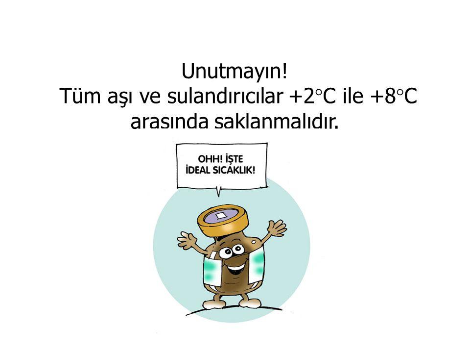 Unutmayın! Tüm aşı ve sulandırıcılar +2°C ile +8°C arasında saklanmalıdır.