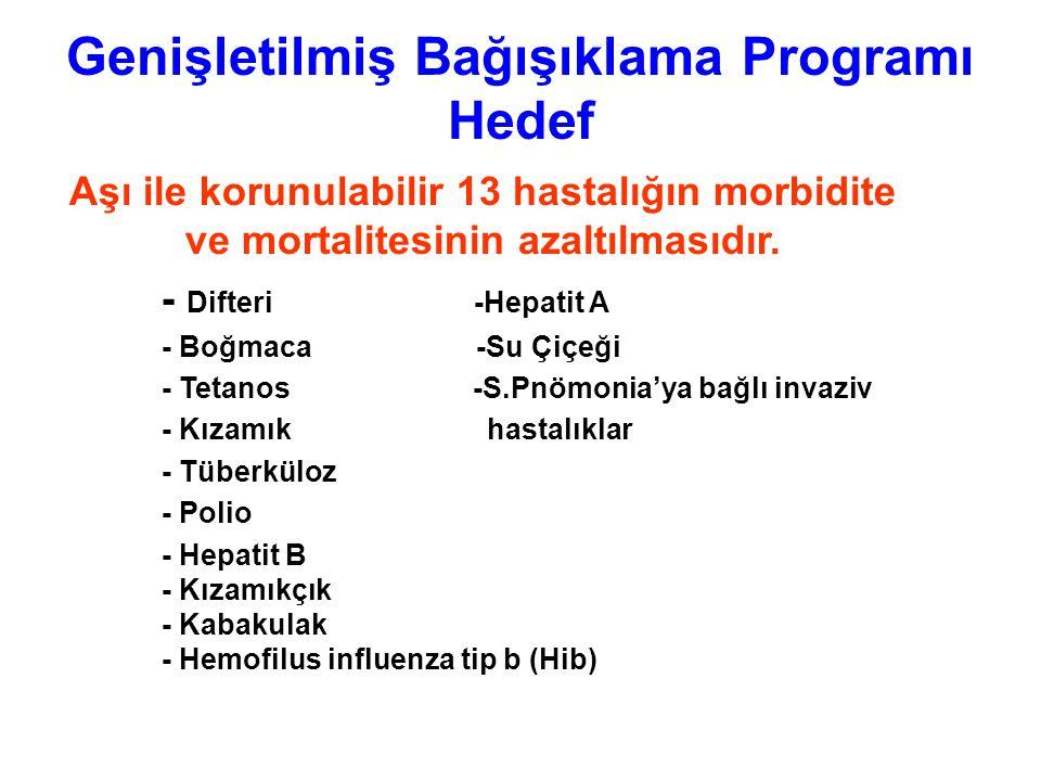 Bağışıklama konusunda tüm uygulamalar 2009/17 sayılı Genişletilmiş Bağışıklama Programı Genelgesi'ne uygun şekilde yapılmalıdır.