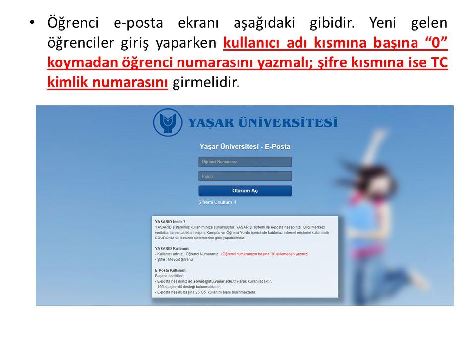 Öğrenci e-posta ekranı aşağıdaki gibidir.