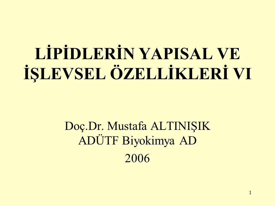 1 LİPİDLERİN YAPISAL VE İŞLEVSEL ÖZELLİKLERİ VI Doç.Dr. Mustafa ALTINIŞIK ADÜTF Biyokimya AD 2006