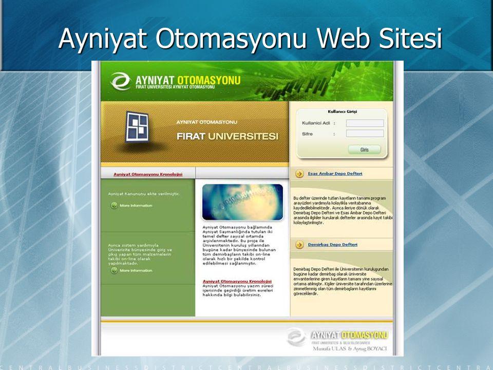 Ayniyat Otomasyonu Web Sitesi