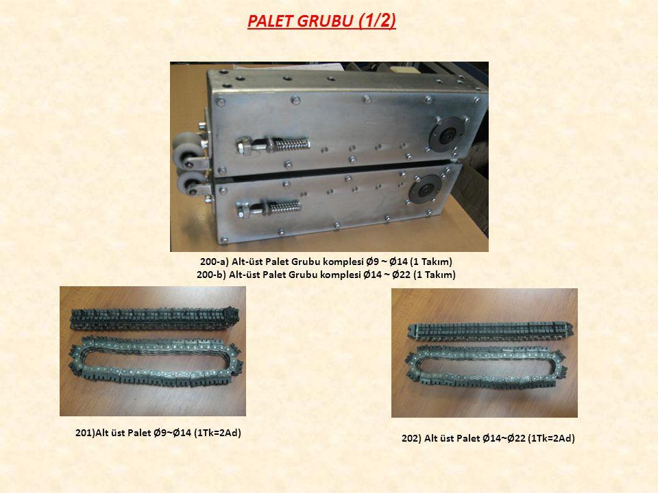 PALET GRUBU (1/2) 201)Alt üst Palet Ø9 ~ Ø14 (1Tk=2Ad) 202) Alt üst Palet Ø14 ~ Ø22 (1Tk=2Ad) 200-a) Alt-üst Palet Grubu komplesi Ø9 ~ Ø14 (1 Takım) 200-b) Alt-üst Palet Grubu komplesi Ø14 ~ Ø22 (1 Takım)