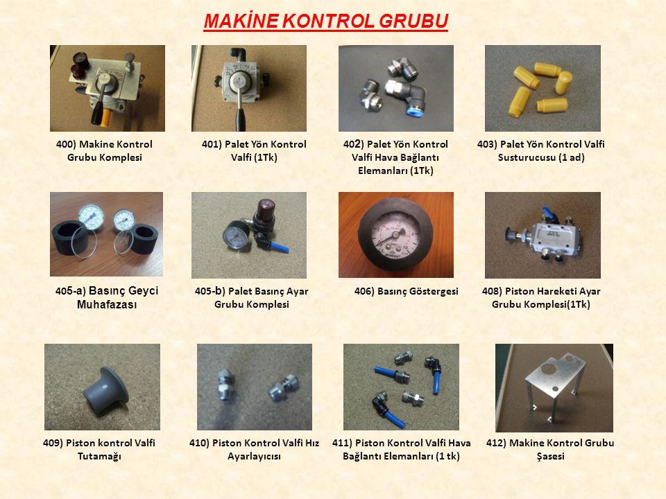 MAKİNE KONTROL GRUBU 400) Makine Kontrol Grubu Komplesi 401) Palet Yön Kontrol Valfi (1Tk) 40 5-a ) Basınç Geyci Muhafazası 403) Palet Yön Kontrol Valfi Susturucusu (1 ad) 40 2 ) Palet Yön Kontrol Valfi Hava Bağlantı Elemanları (1Tk) 405 -b ) Palet Basınç Ayar Grubu Komplesi 406) Basınç Göstergesi 408) Piston Hareketi Ayar Grubu Komplesi(1Tk) 409) Piston kontrol Valfi Tutamağı 410) Piston Kontrol Valfi Hız Ayarlayıcısı 412) Makine Kontrol Grubu Şasesi 411) Piston Kontrol Valfi Hava Bağlantı Elemanları (1 tk)