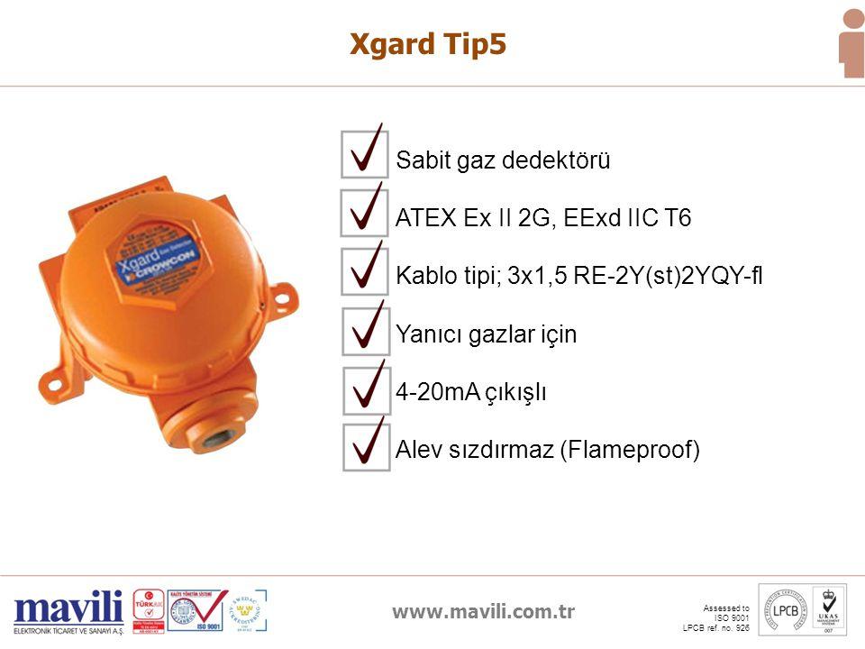 www.mavili.com.tr Assessed to ISO 9001 LPCB ref. no. 926 Xgard Tip5 Yanıcı gazlar için 4-20mA çıkışlı Alev sızdırmaz (Flameproof) Sabit gaz dedektörü