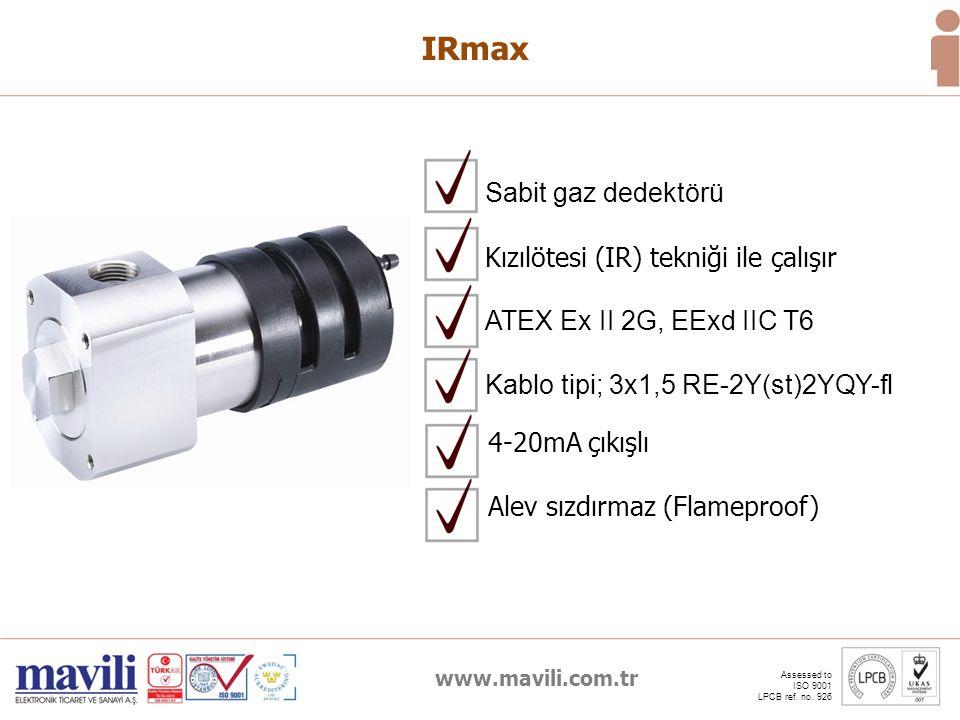 www.mavili.com.tr Assessed to ISO 9001 LPCB ref. no. 926 IRmax 4-20mA çıkışlı Alev sızdırmaz (Flameproof) Sabit gaz dedektörü Kızılötesi (IR) tekniği