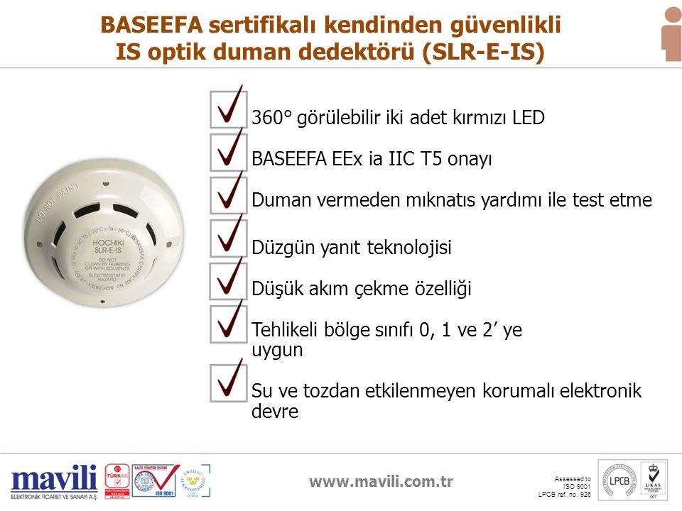 www.mavili.com.tr Assessed to ISO 9001 LPCB ref. no. 926 BASEEFA sertifikalı kendinden güvenlikli IS optik duman dedektörü (SLR-E-IS) Düzgün yanıt tek