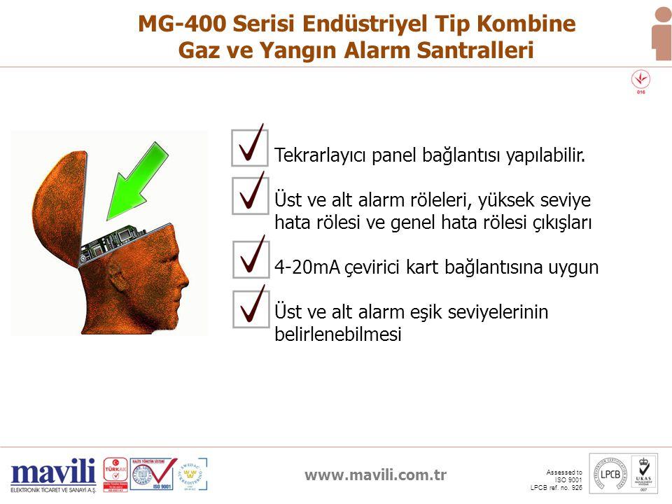 www.mavili.com.tr Assessed to ISO 9001 LPCB ref. no. 926 MG-400 Serisi Endüstriyel Tip Kombine Gaz ve Yangın Alarm Santralleri Tekrarlayıcı panel bağl