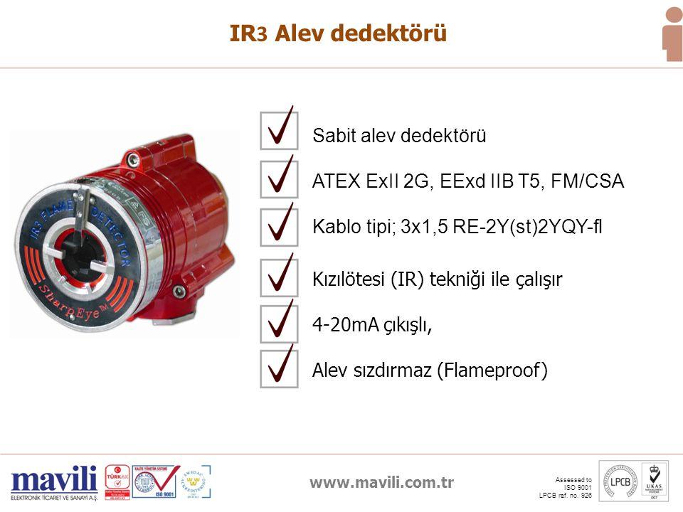 www.mavili.com.tr Assessed to ISO 9001 LPCB ref. no. 926 IR 3 Alev dedektörü Kızılötesi (IR) tekniği ile çalışır 4-20mA çıkışlı, Alev sızdırmaz (Flame