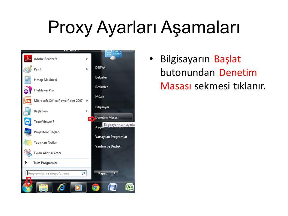 Proxy Ayarları Aşamaları Bilgisayarın Başlat butonundan Denetim Masası sekmesi tıklanır.