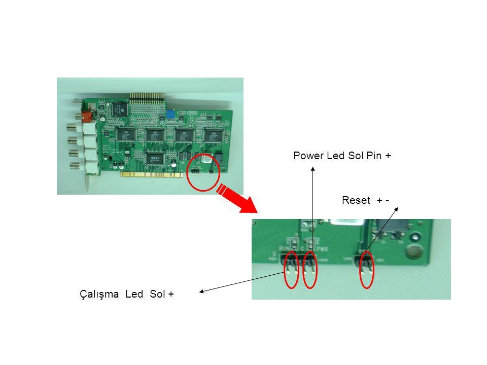 Reset + - Çalışma Led Sol + Power Led Sol Pin +