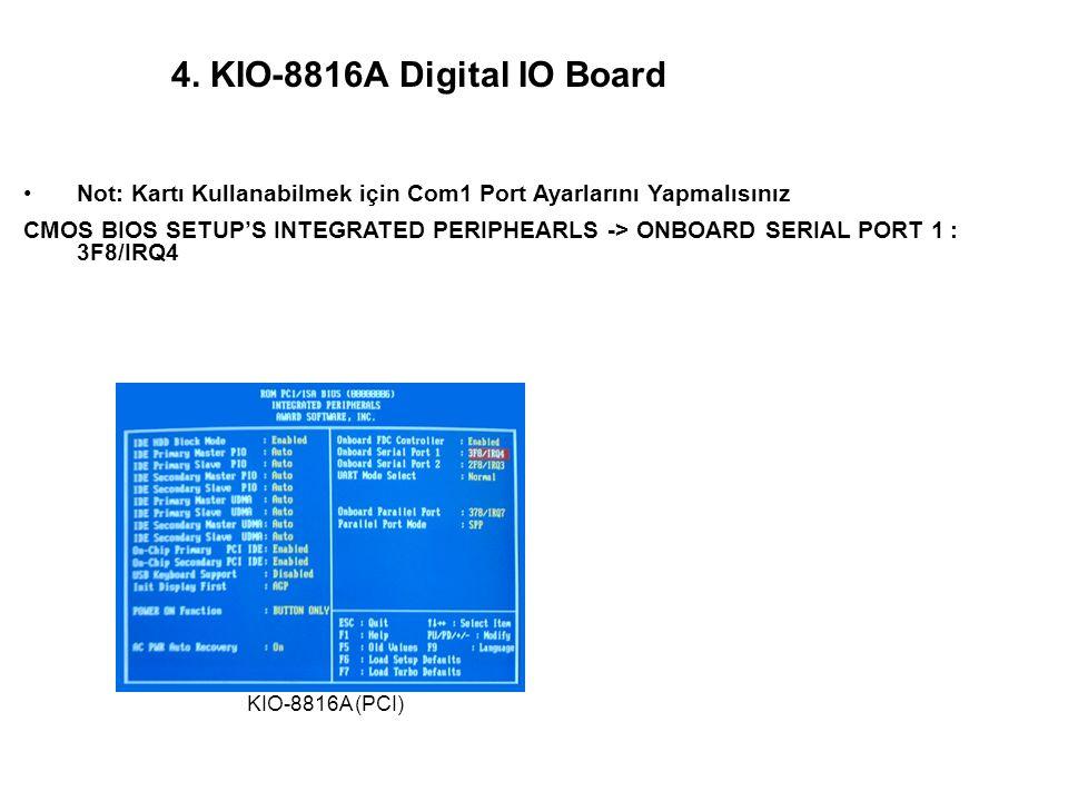 Not: Kartı Kullanabilmek için Com1 Port Ayarlarını Yapmalısınız CMOS BIOS SETUP'S INTEGRATED PERIPHEARLS -> ONBOARD SERIAL PORT 1 : 3F8/IRQ4 4. KIO-88