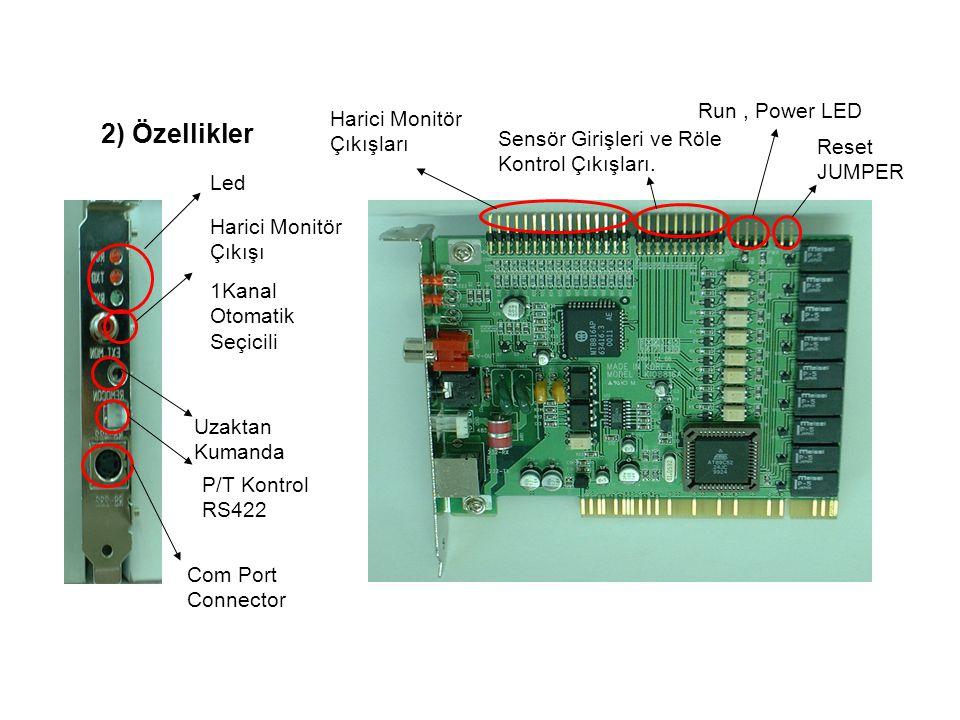 Harici Monitör Çıkışları Sensör Girişleri ve Röle Kontrol Çıkışları. Reset JUMPER Run, Power LED Led Uzaktan Kumanda P/T Kontrol RS422 Com Port Connec