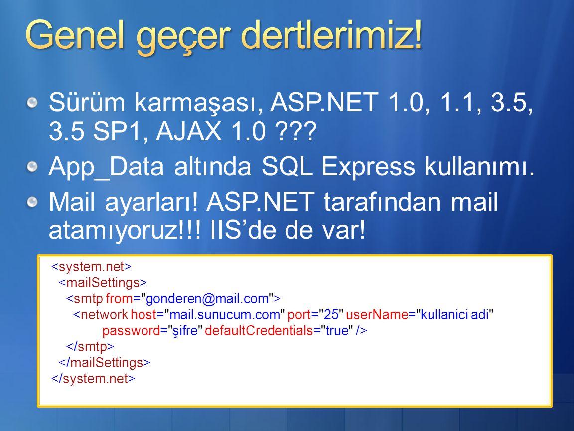 Sürüm karmaşası, ASP.NET 1.0, 1.1, 3.5, 3.5 SP1, AJAX 1.0 .