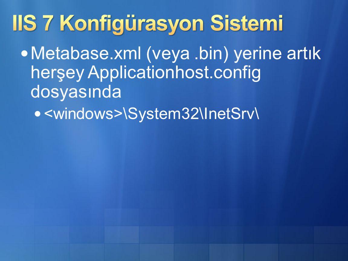 Metabase.xml (veya.bin) yerine artık herşey Applicationhost.config dosyasında \System32\InetSrv\