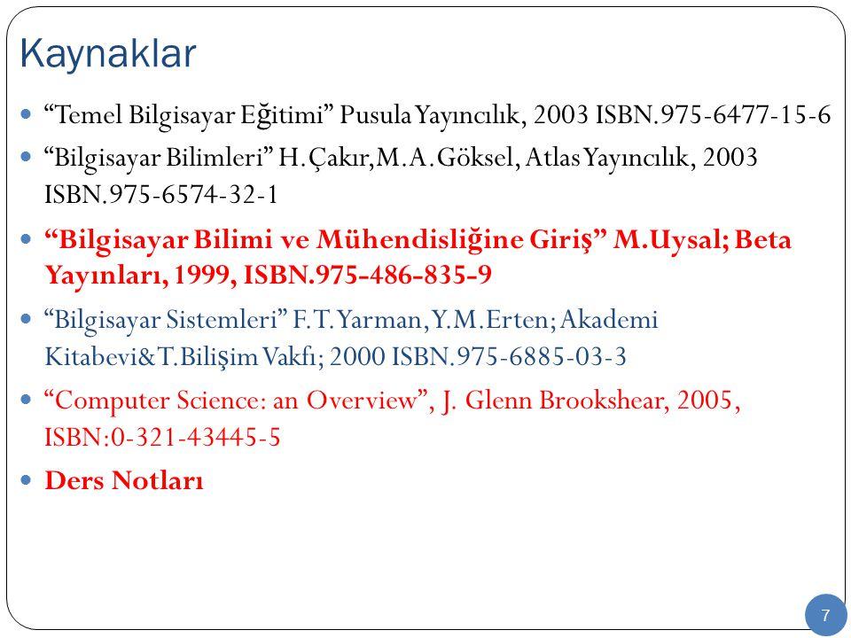 """7 """"Temel Bilgisayar E ğ itimi"""" Pusula Yayıncılık, 2003 ISBN.975-6477-15-6 """"Bilgisayar Bilimleri"""" H.Çakır,M.A.Göksel, Atlas Yayıncılık, 2003 ISBN.975-6"""