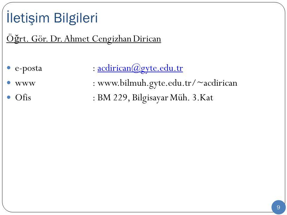 9 Ö ğ rt. Gör. Dr. Ahmet Cengizhan Dirican e-posta: acdirican@gyte.edu.tracdirican@gyte.edu.tr www: www.bilmuh.gyte.edu.tr/~acdirican Ofis : BM 229, B