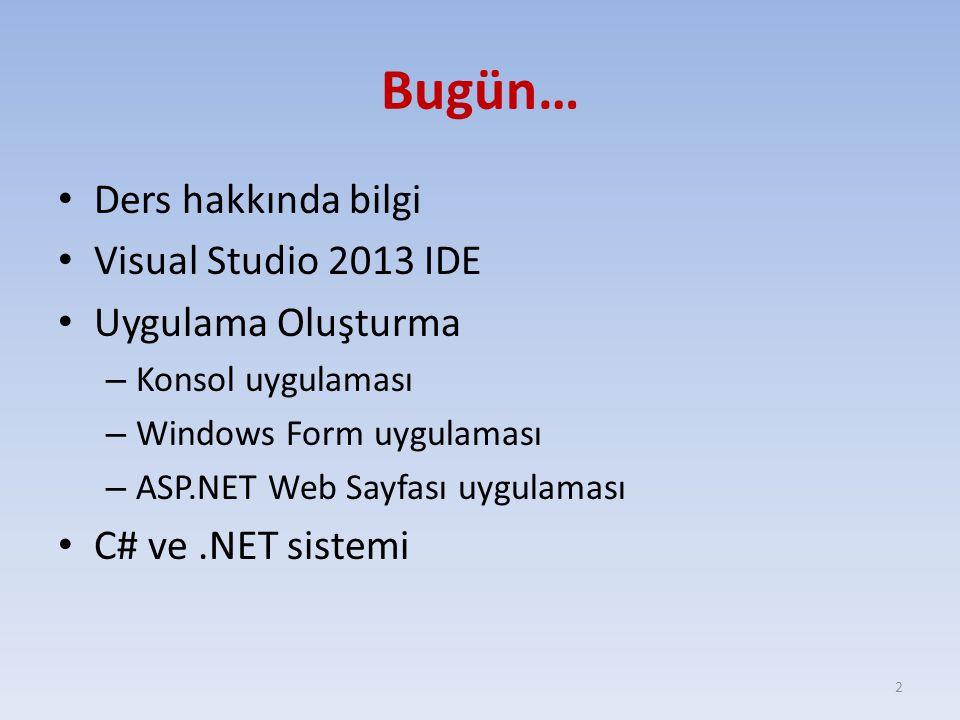 Bugün… Ders hakkında bilgi Visual Studio 2013 IDE Uygulama Oluşturma – Konsol uygulaması – Windows Form uygulaması – ASP.NET Web Sayfası uygulaması C#