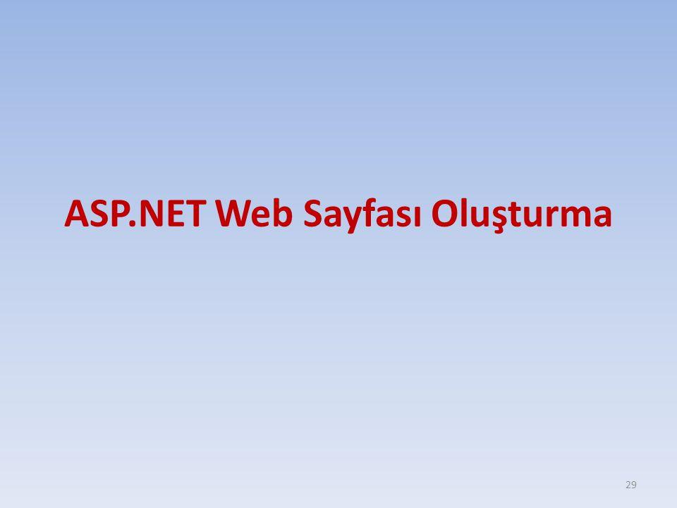 ASP.NET Web Sayfası Oluşturma 29