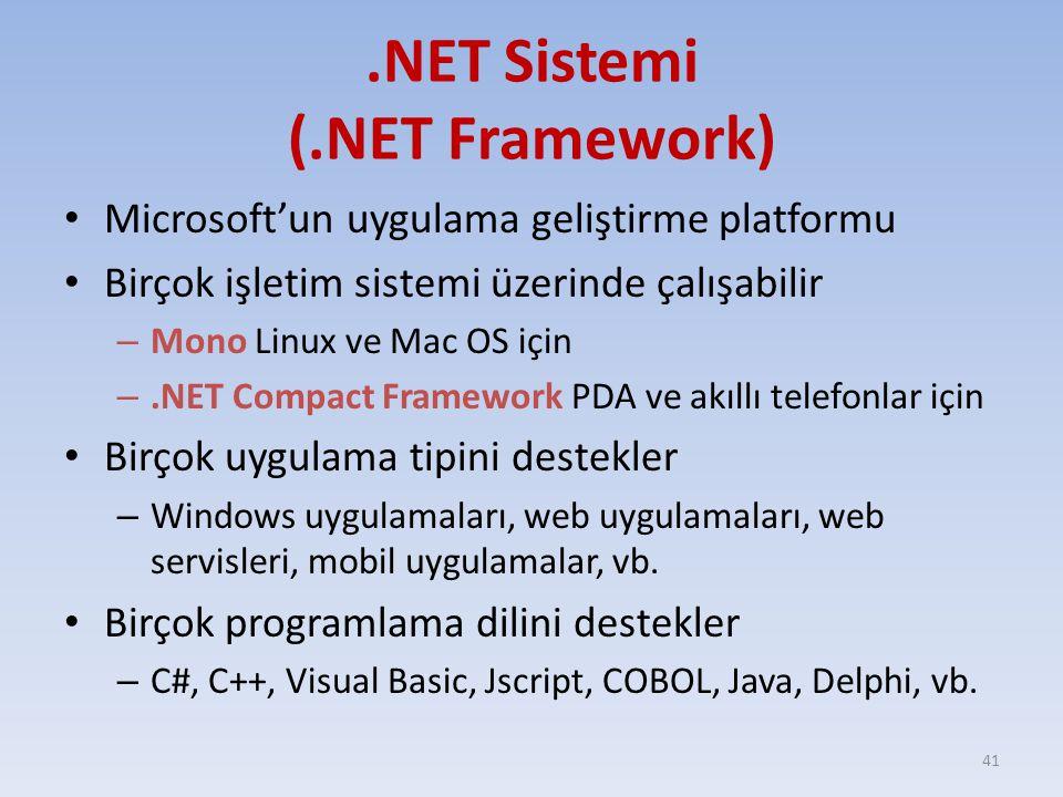 .NET Sistemi (.NET Framework) Microsoft'un uygulama geliştirme platformu Birçok işletim sistemi üzerinde çalışabilir – Mono Linux ve Mac OS için –.NET