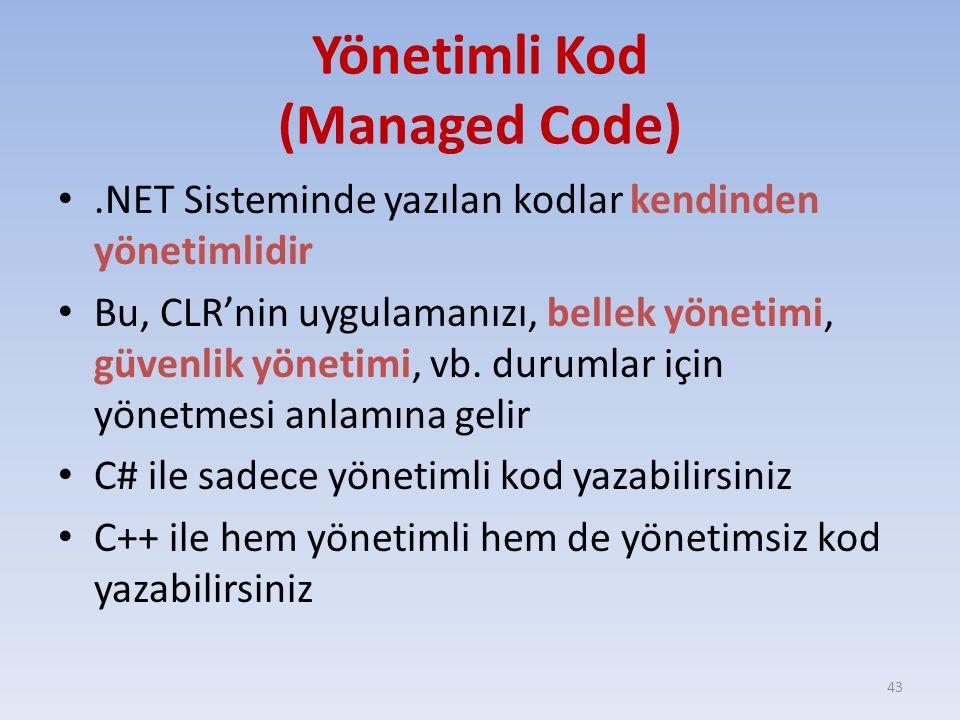 Yönetimli Kod (Managed Code).NET Sisteminde yazılan kodlar kendinden yönetimlidir Bu, CLR'nin uygulamanızı, bellek yönetimi, güvenlik yönetimi, vb. du