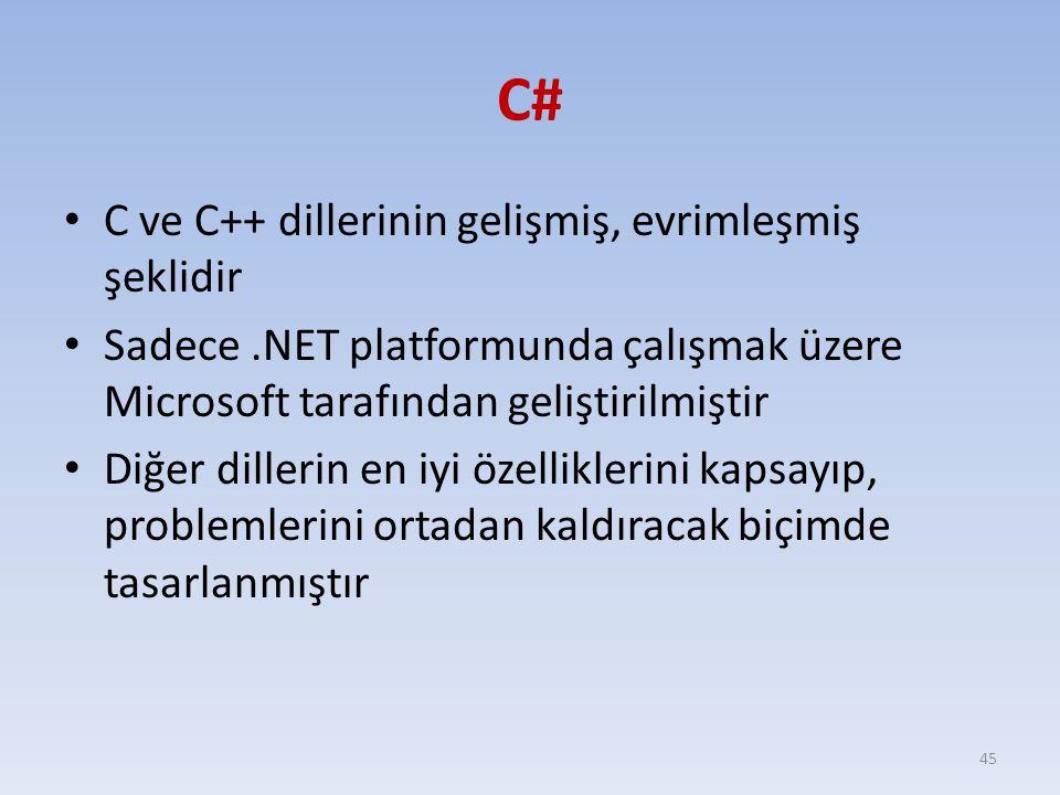 C# C ve C++ dillerinin gelişmiş, evrimleşmiş şeklidir Sadece.NET platformunda çalışmak üzere Microsoft tarafından geliştirilmiştir Diğer dillerin en i