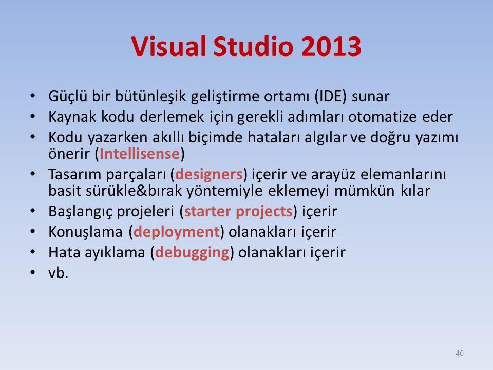 Visual Studio 2013 Güçlü bir bütünleşik geliştirme ortamı (IDE) sunar Kaynak kodu derlemek için gerekli adımları otomatize eder Kodu yazarken akıllı b