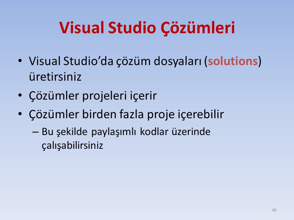 Visual Studio Çözümleri Visual Studio'da çözüm dosyaları (solutions) üretirsiniz Çözümler projeleri içerir Çözümler birden fazla proje içerebilir – Bu
