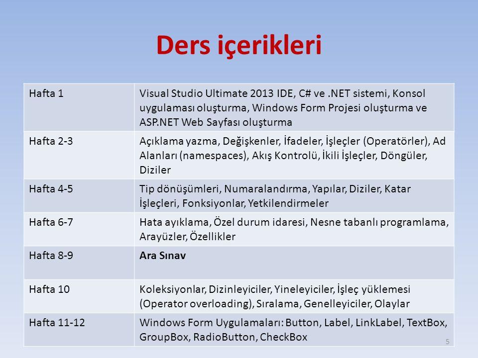 Ders içerikleri Hafta 1Visual Studio Ultimate 2013 IDE, C# ve.NET sistemi, Konsol uygulaması oluşturma, Windows Form Projesi oluşturma ve ASP.NET Web