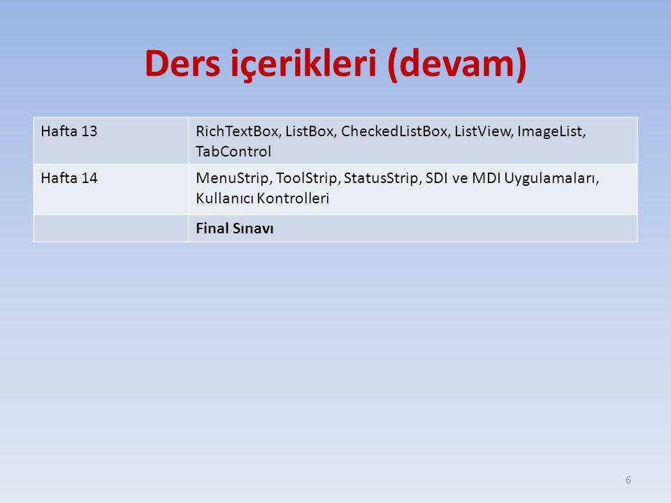 Ders içerikleri (devam) Hafta 13RichTextBox, ListBox, CheckedListBox, ListView, ImageList, TabControl Hafta 14MenuStrip, ToolStrip, StatusStrip, SDI v
