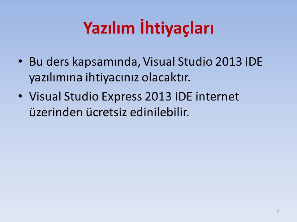 Yazılım İhtiyaçları Bu ders kapsamında, Visual Studio 2013 IDE yazılımına ihtiyacınız olacaktır. Visual Studio Express 2013 IDE internet üzerinden ücr