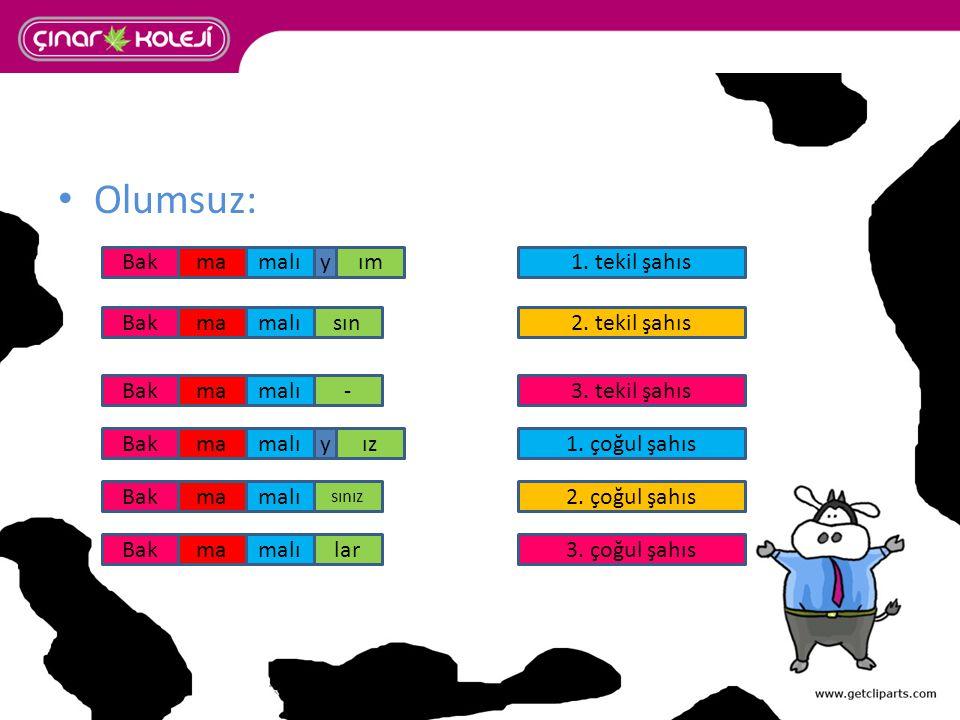 Olumsuz: malıma malı 1. tekil şahıs 2. tekil şahıs 3. tekil şahıs 3. çoğul şahıs 1. çoğul şahıs 2. çoğul şahıs ım sın - ız sınız lar Bak malı y y
