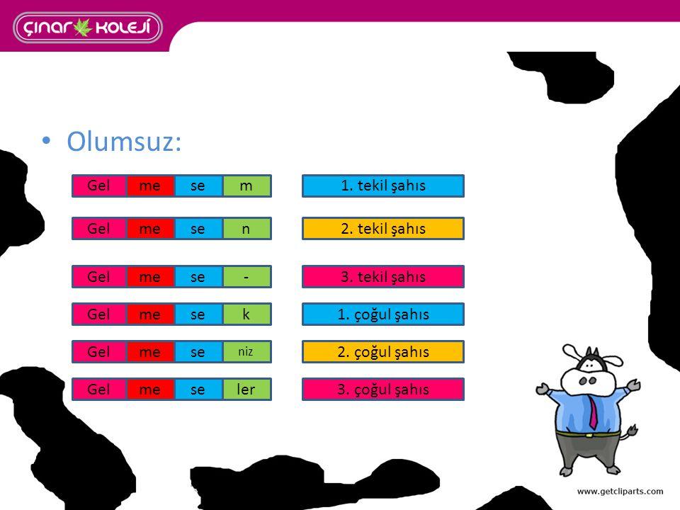 Olumsuz: seme se 1. tekil şahıs 2. tekil şahıs 3. tekil şahıs 3. çoğul şahıs 1. çoğul şahıs 2. çoğul şahıs m n - k niz ler Gel